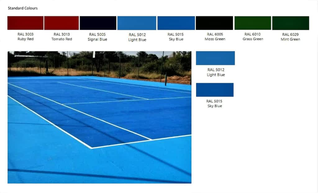 Tennis Court Paint Colours